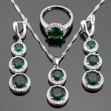 Verde Esmeralda Creado CZ Joyería de Plata de Color Blanco Para Las Mujeres Collar Colgante Pendientes de Gota Largos Anillos Caja de Regalo Libre