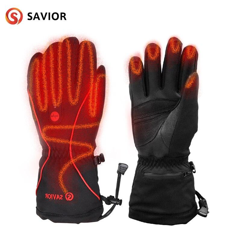 Кожаные перчатки с подогревом Спасителя, велосипедные перчатки с подогревом батареи, лыжные умные электрические перчатки, теплые зимние пе
