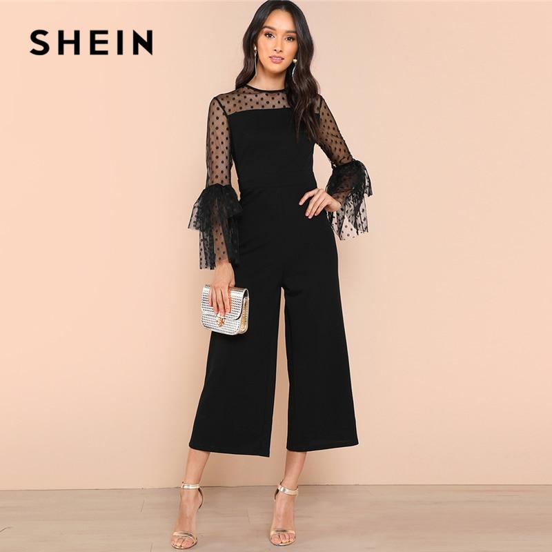 abb5f8c564 SHEIN Black Dot Mesh Shoulder Layered Bell Sleeve Jumpsuit Elegant Casual  Wide Leg Jumpsuits Women Workwear Autumn Jumpsuit