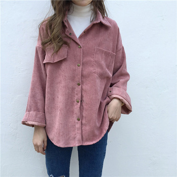 New Vintage Long Sleeve Shirts Spring and autumn Women Solid Batwing Sleeve Blouse Warm Corduroy blouses Women Tops 6
