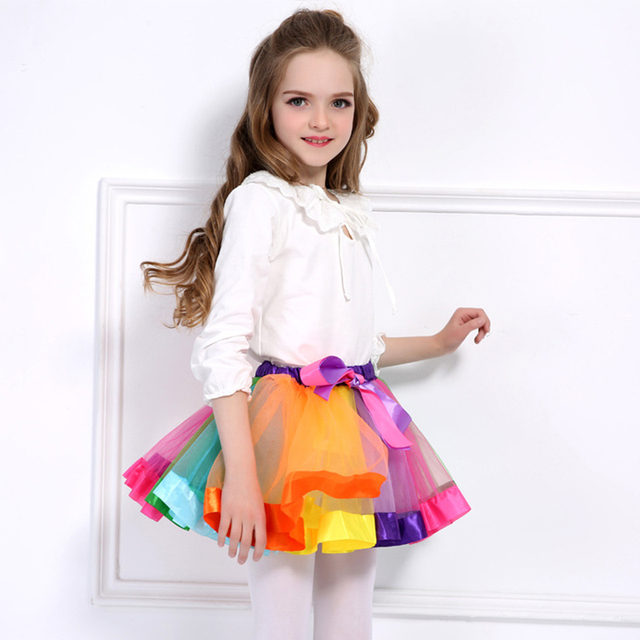9c0a09bfc256 Sweet Rainbow Skirts For Baby Girls Splicing Mesh Clothes Kids ...