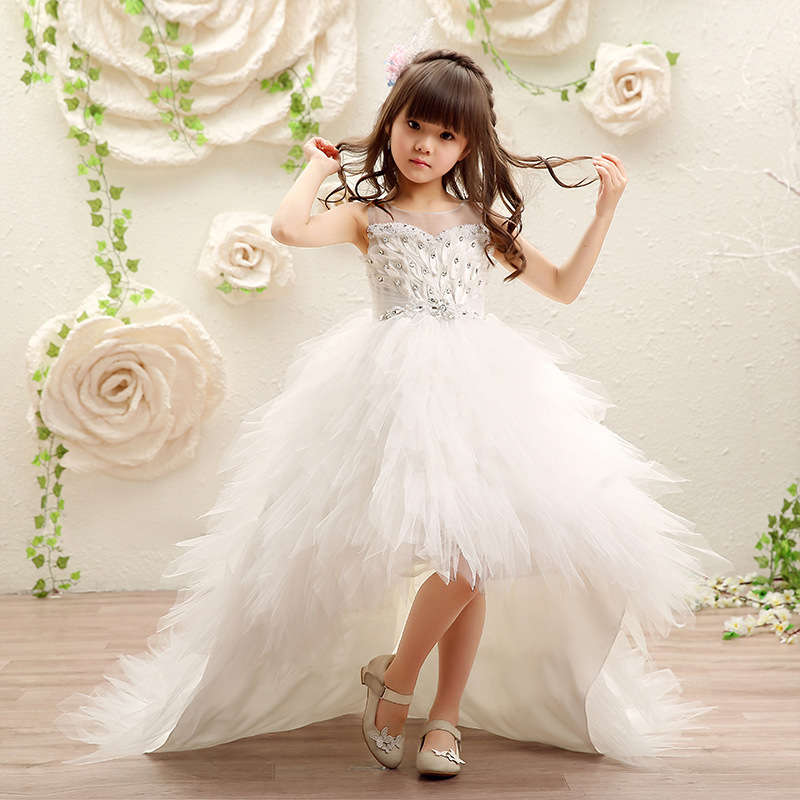 Flower Girl Dresses for Wedding Long Trailing Kids Pageant Dress for Birthday Costume Feather Crystal Princess Party Gowns K43 charming flower feather party hairband for women