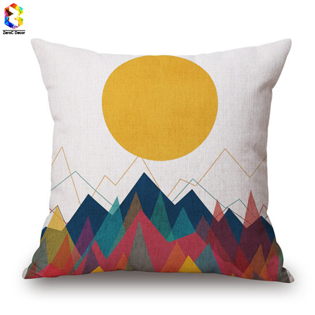 ZeroC Nordic Colourful Geometric Linen Cushion Case Decorative Fascinating Decorative Neck Roll Pillows