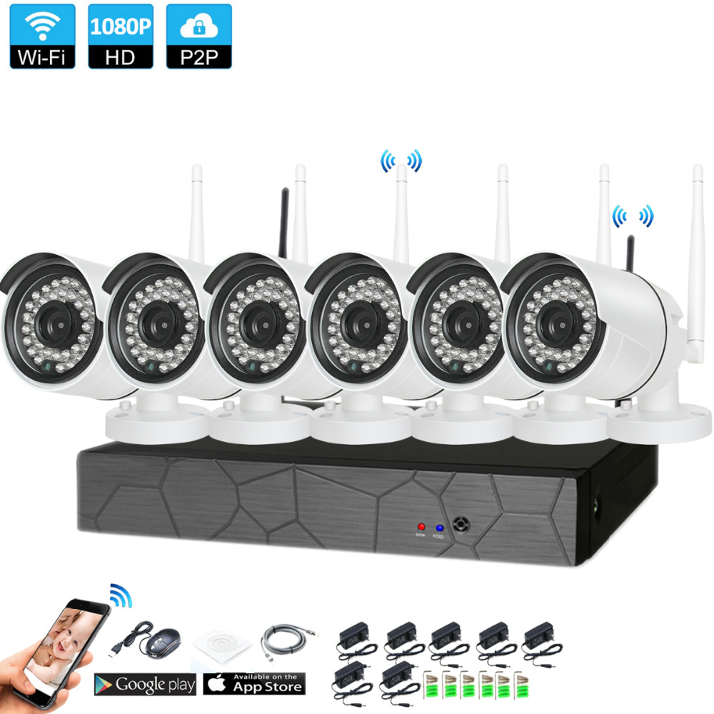 Macho y 6CH 1080 P HD inalámbrica NVR Kit P2P 1080 P de interior al aire libre de la visión nocturna IR seguridad 2.0MP cámara cámara IP WIFI Sistema de CCTV