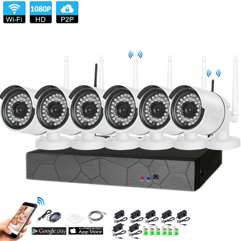 Plug and Play 6CH 1080 P HD Беспроводной NVR комплект P2P 1080 P внутренний наружный IR Ночное Видение безопасности 2.0MP IP Камера WI-FI CCTV Системы