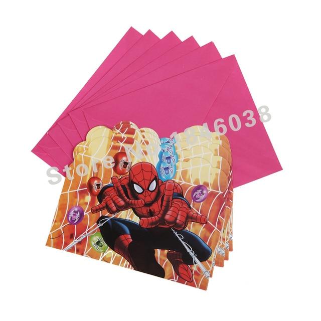 6pcs Envelop Shape Spider Man Theme Party Invitation Card Kids Baby Birthday Festival Decoration Supplies