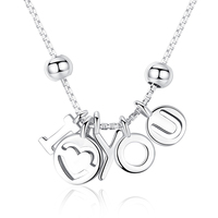cf5c03e2c5b8 New Original 925 Sterling Silver Statement Necklace I Love You Necklaces  Pendants Women Chain Pan Jewelry