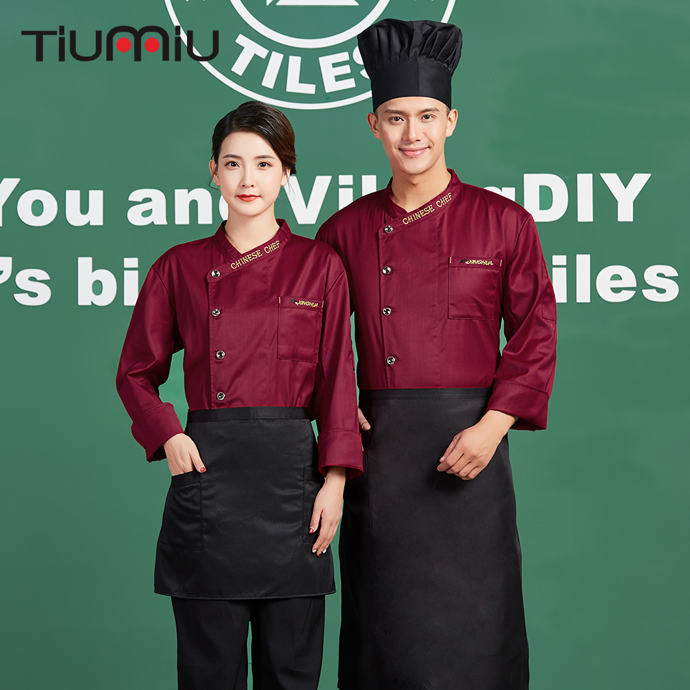 Chinese Chef Embroidery Restaurant Chef Uniform Long Sleeve Kitchen Cuisine Clothes Waiter Waitress Overalls Housewife Jacket