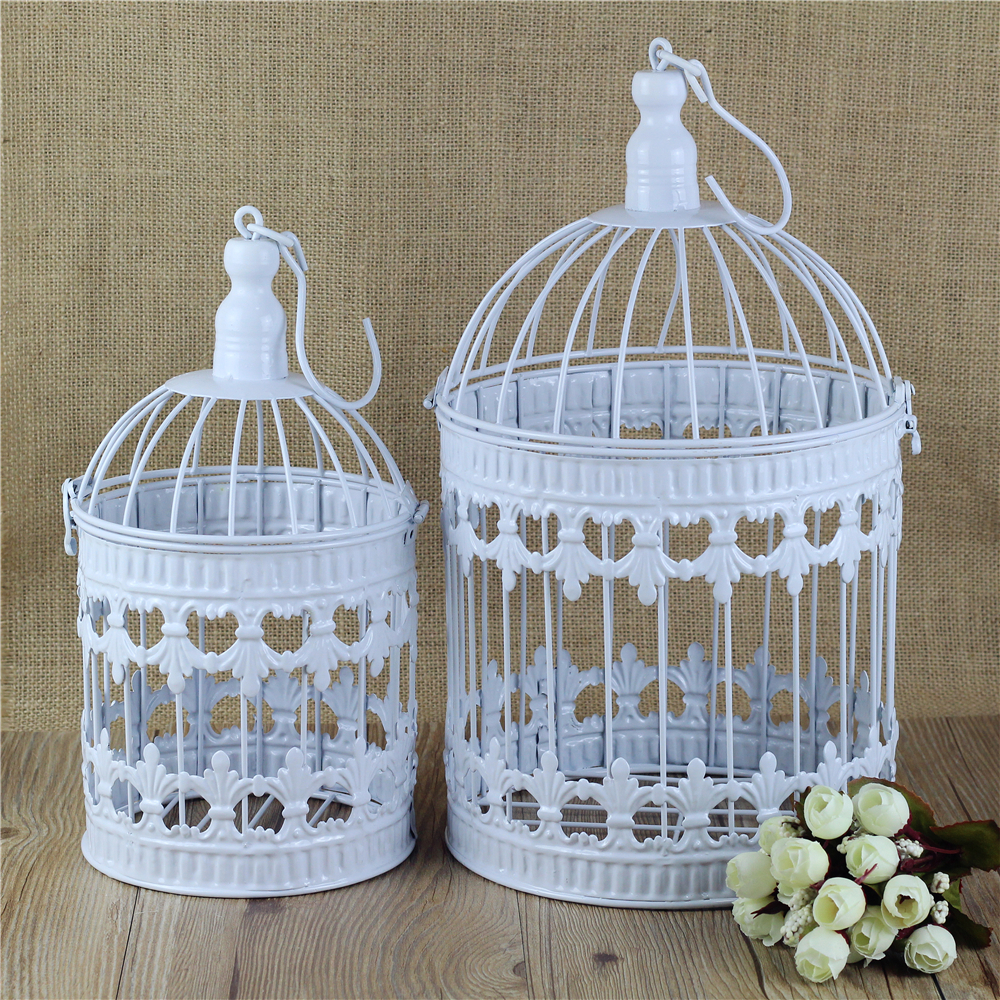 Candle Holders White Mini Decorative Metal Bird Cage Vintage Home Weddings Decoration Wrought Iron Candlesticks Lantern