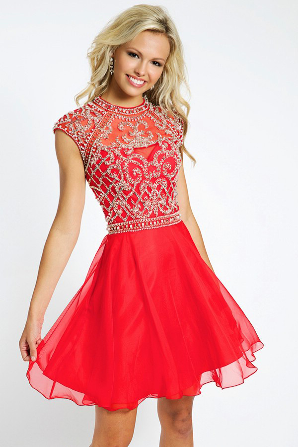 2015 Red Cocktailkleider Crystal Beading Scoop Sleeveless Keyhole Back A-Line Mini Chiffon   Cocktail     Dress   Free Shipping AO68