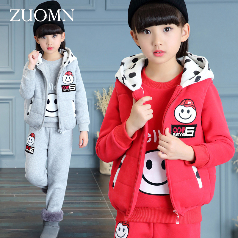 3 Pcs/1 Lot 2016 Winter Baby Girls Clothes Sets Children Cotton Coat+Vest+Pants Kids Warm Outerwear Suits Smile Clothes GH279 2017 winter baby coat kids warm cotton outerwear coats baby clothes infants children outdoors sleeping bag zl910