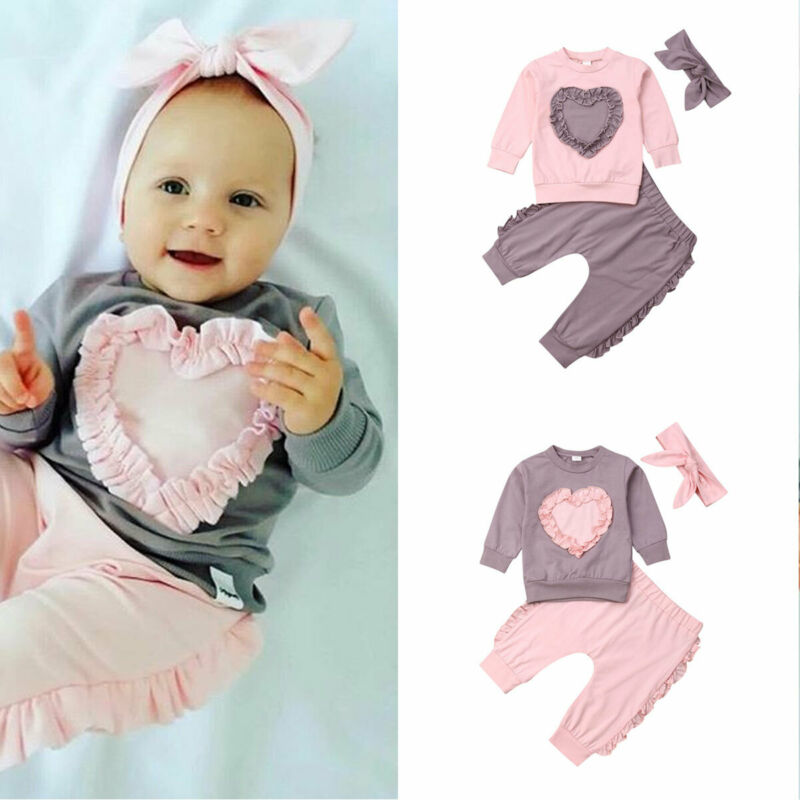 Baby Fall Clothes Focusnorm Newborn Baby Kid Long Sleeve Tops Pant Headband Love Shape 3 Pieces Clothes Sets