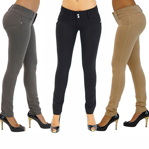 4a5aede5c46 Women Sexy Solid Color Button Skinny Stretchy Leggings Treggings Pants  Trousers