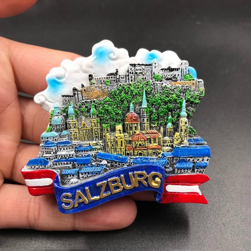 1 Stück Heißer Verkauf Neueste Österreich Salzburg Kühlschrank Magnetischen Aufkleber 3d Harz Handgemachte Kühlschrank Magneten Tourismus Souvenir