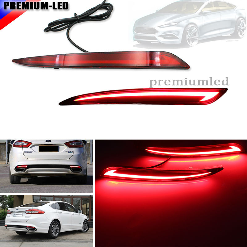 Taillight Style Red 3D Optic LED Rear Bumper Reflector driving Tail Brake Light Turning Lights For 2014~2016 Ford Fusion Mondeo 1pcs outer rear light taillight tail lamp right side for ford mondeo fusion 2011 2012