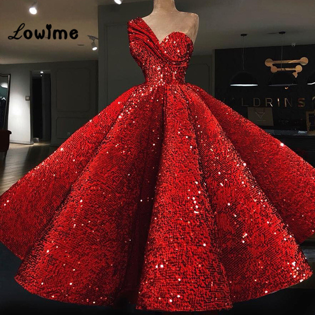Ball Gown Red Sequined   Prom     Dresses   Vestido De Festa Abiye Puffy Party   Dress   2018 Couture Abaya Middle East Women Evening Gown