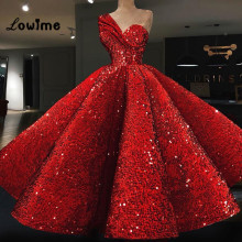 Ball Gown Red Sequined Prom Dress Couture Abaya