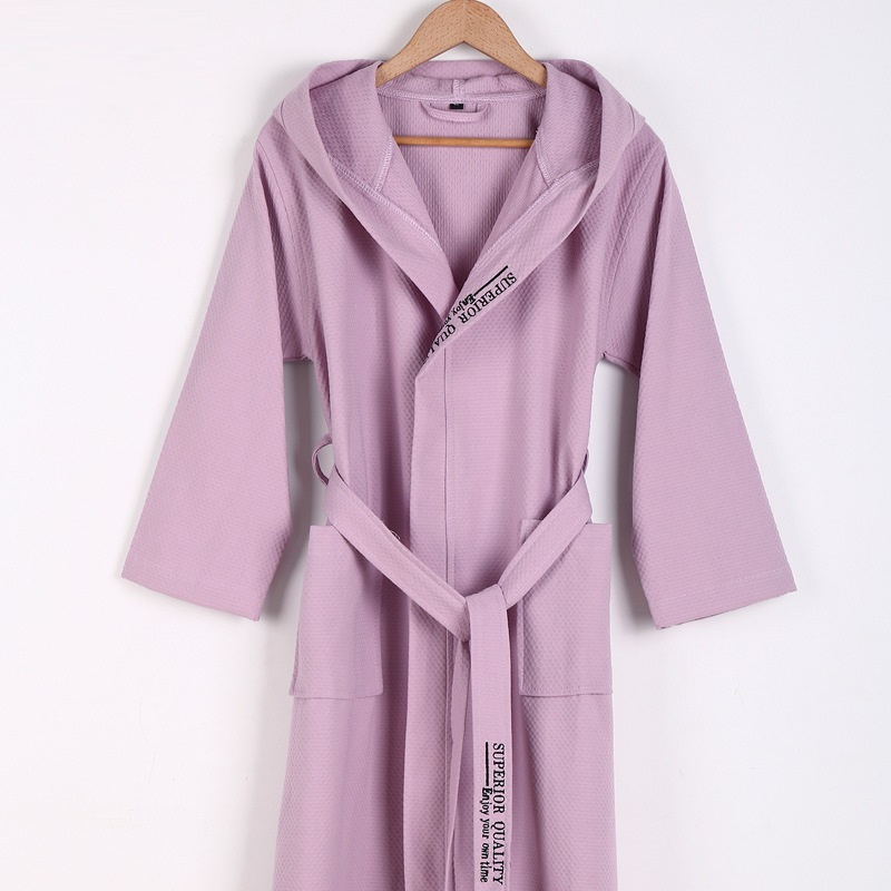 Pure Cotton Material Plain Color Bathrobes Robe Unisex Hooded Pajamas Sauna Clothes Waffle Sleepwear Water Absorption