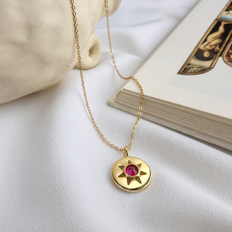 Silvology 925 Sterling Silver Seven-pointed Astral Necklace Gold Birth Stone Pendant Necklace For Women 2019 Summer Jewelry Gift