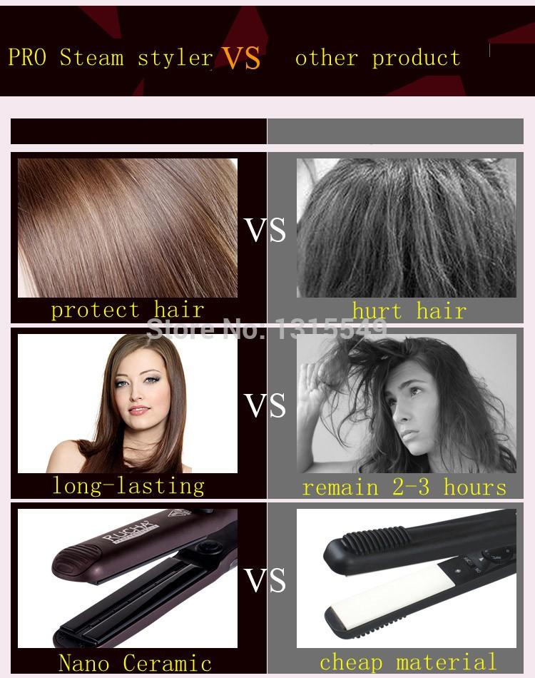 CHJ Steam Hair Straightener Ceramic Flat Iron Vapor Plate Wet/Dry Straightening Iron Ferro Hair Iron Steamer Styling Tool 12