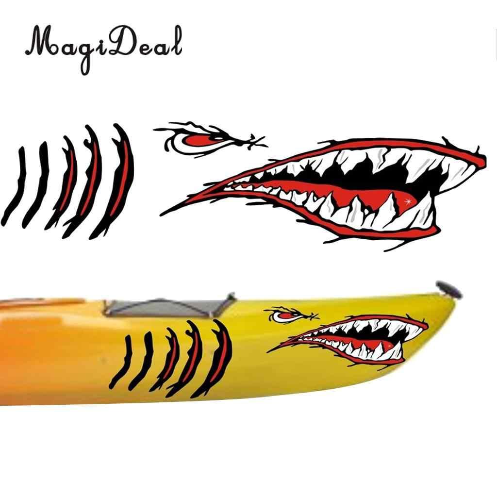 MagiDeal 3 teile/satz Wasserdichte Vinyl Shark Zähne Mund Aufkleber Aufkleber Boot Grafiken & Dolphin Form Schwimm Wasser Schwimmfähig Schlüsselring