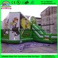 Надувные Прыжки Замок Зеленый Мультфильм Печати Надувные Надувной Дом надувные вышибала дом