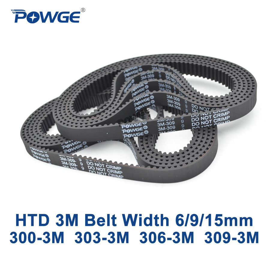 POWGE HTD 3M Timing belt C= 300 303 306 309 width 6/9/15mm Teeth 100 101 102 103 HTD3M synchronous 300-3M 303-3M 306-3M 309-3MPOWGE HTD 3M Timing belt C= 300 303 306 309 width 6/9/15mm Teeth 100 101 102 103 HTD3M synchronous 300-3M 303-3M 306-3M 309-3M