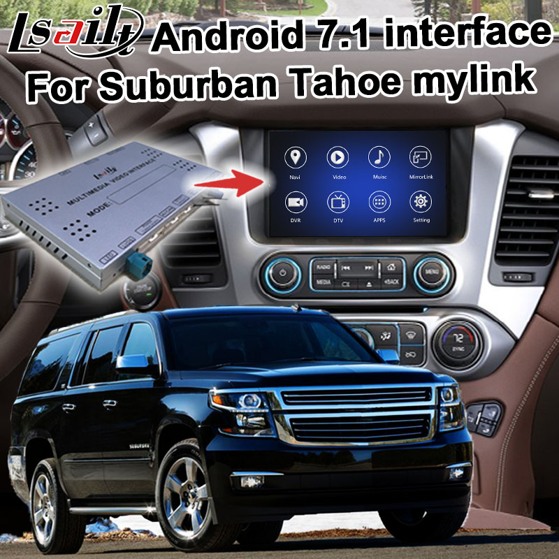 Android / carplay interface box for Chevrolet Suburban Tahoe 2015- GPS navigation video interface mylink CUE system by Lsailt image