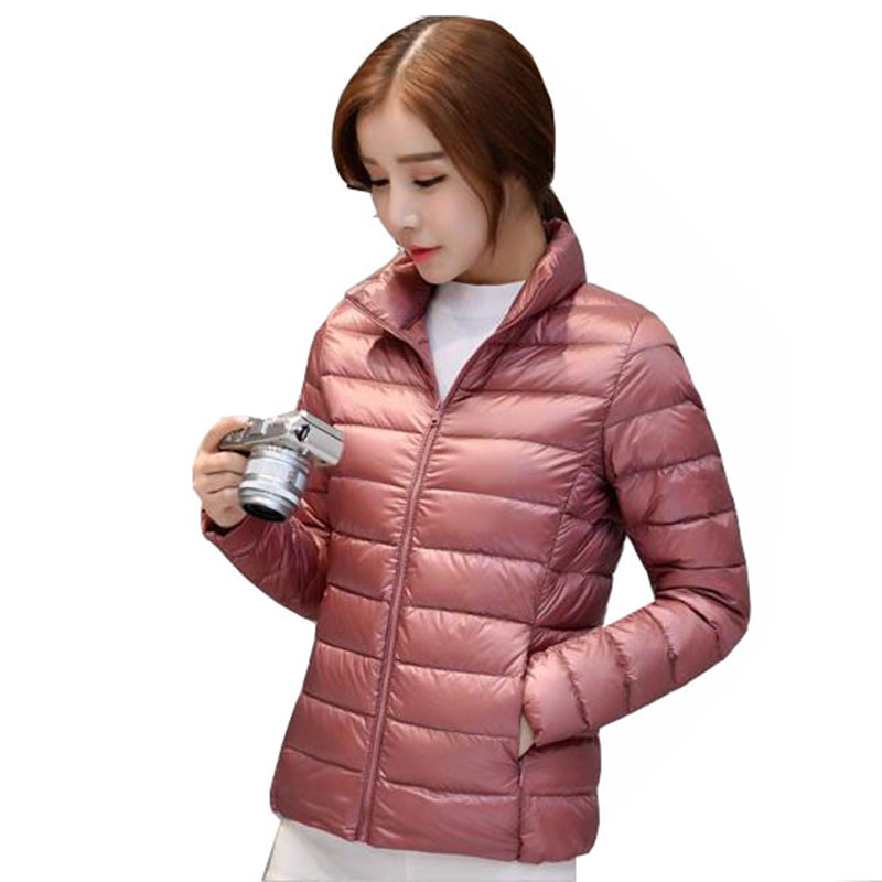 Plus Size White Duck   Down     Coat   2017 New Autumn Winter Puffer Jacket Women Ultra Light Solid Color Zipper slim Warm Parka QH0878