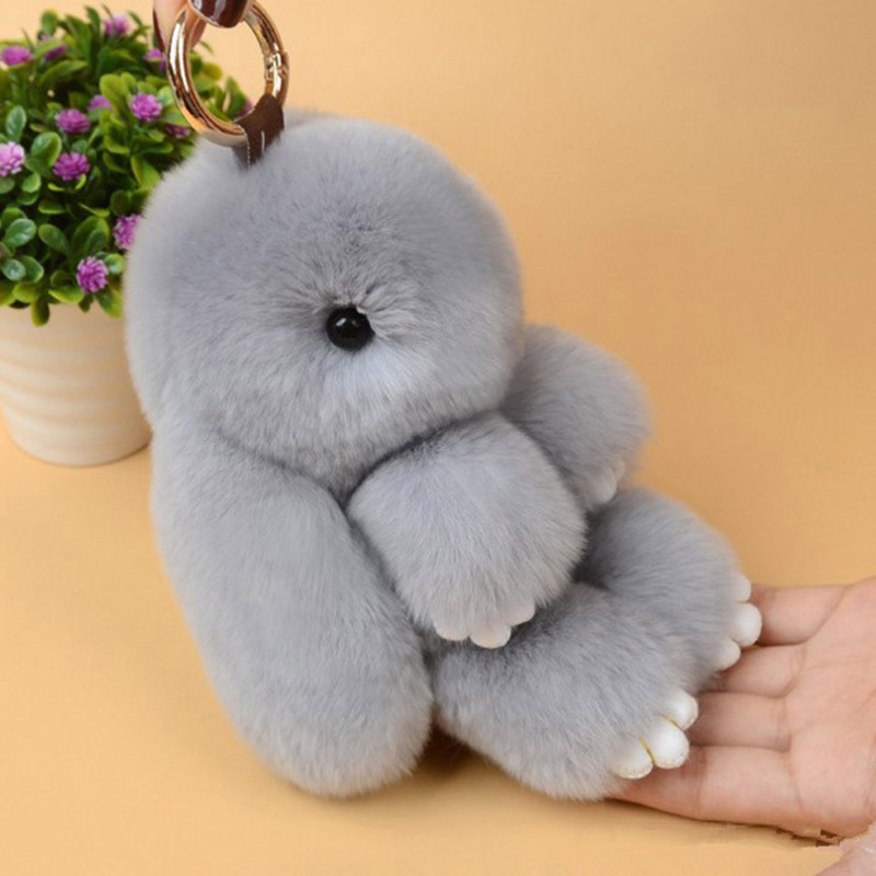 Women Fur Pom Pom Angel Rabbit Key Ring  1