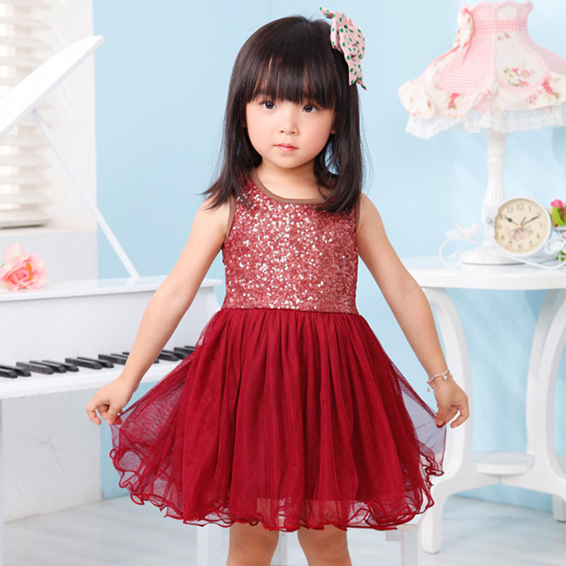 Girl Dress Gold Sequined Baby Girls Princess For Kids Dresses Pageant Party Tutu Dress Kids Clothes Costume 2-9 years old 1