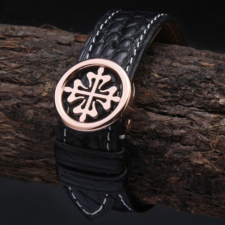 18mm 19mm 20mm 21mm 22mm nouveau bracelet de montre en cuir véritable Alligator bracelet fil blanc or Rose fermoir de montre en acier inoxydable