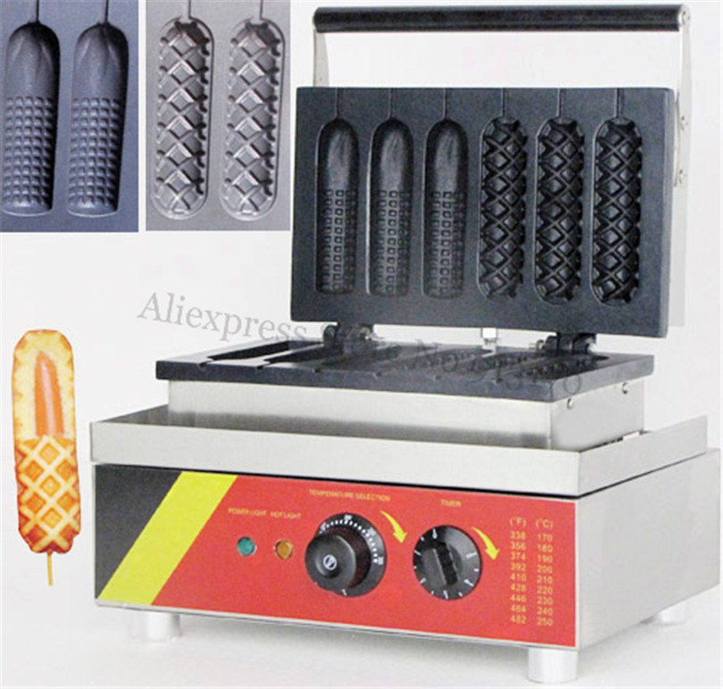 Electric Corn Hot Dog Waffle Machine Muffin Hotdog Baker Maker 3 Corn Shape Molds + 3 Latticed Molds 220V/110V