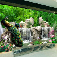 Custom 3D Photo Wallpaper Bamboo Forest Rockery Peacock Background Photography Backdrop Living Room Bedroom Non Woven