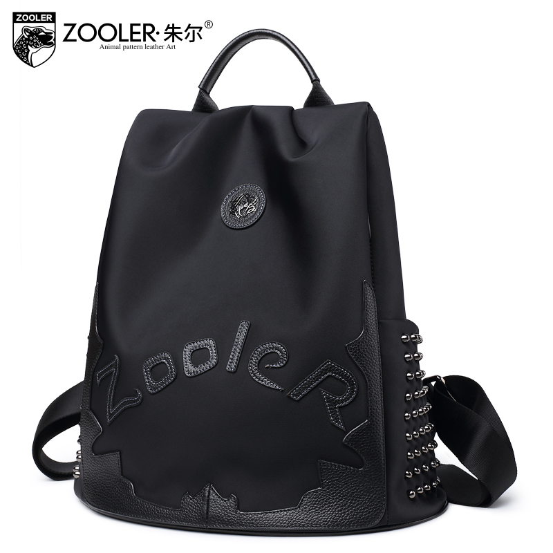 2019 fashion ZOOLER Nylon cowhide backpack luxury backpacks large capacity top quality women bag letter backpacks Bolsas 8395 in Backpacks from Luggage Bags