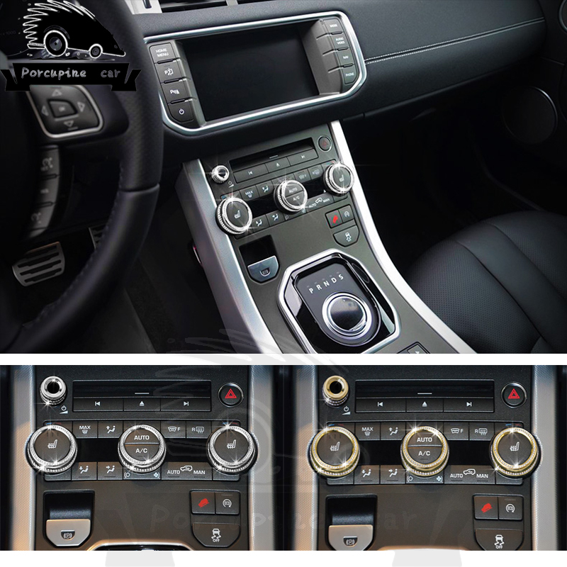 4 pièces 3 couleurs Volume climatisation voiture bouton décoration voiture autocollant-style pour Land Rover Range Rover Sport Evoque