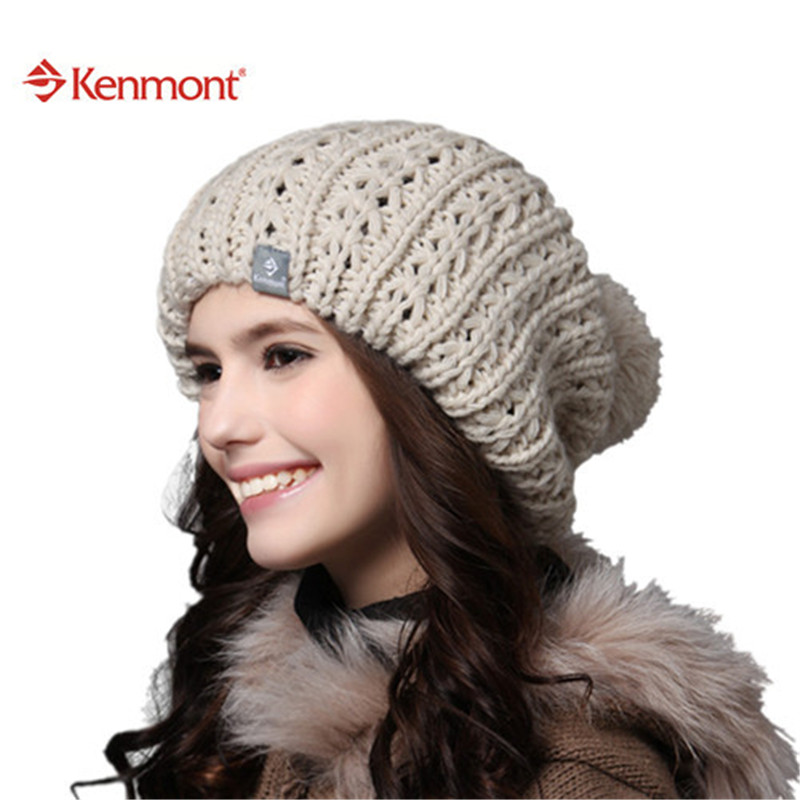 New Kenmont Winter Autumn Women Caps Hats Of Beige Red Yellow 100% Hand Knit  Icelandic Wool Beanie ... 89d574a71