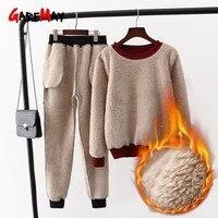 Women's Cashmere Velvet Suit Sport For Women Warm Two 2 Piece Set Women Winter Female Streetwear Top And Pants Hoodie Set Women