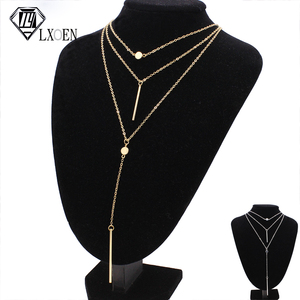 LXOEN Vintage Chain Chokers Necklaces Fashion Multi Layer Crystal Punk Necklace Statement Bohemian Jewelry for Women Gift