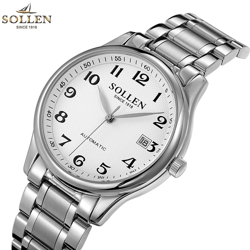 SOLLEN Watches Waterproof 100m Auto Date Relogio Full Steel Top Band Mens Casual Clock Wrist Men Automatic Mechanical Watch
