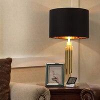 Золотой стол лампа современная мода кабинет Lampara de Pie отель Гостиная стоячие огни черный оттенок металла настольная лампа