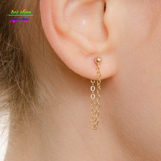 Brief Style Gold Tone Fine Chain Stud Earrings For Women From And Back Bijoux