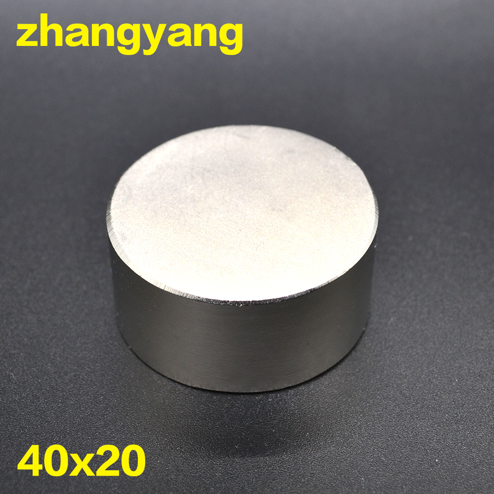 Free shipping 1PC hot magnet 40x20 mm N38 Round strong magnets powerful Neodymium magnet 40x20mm Magnetic metal 40*20mm