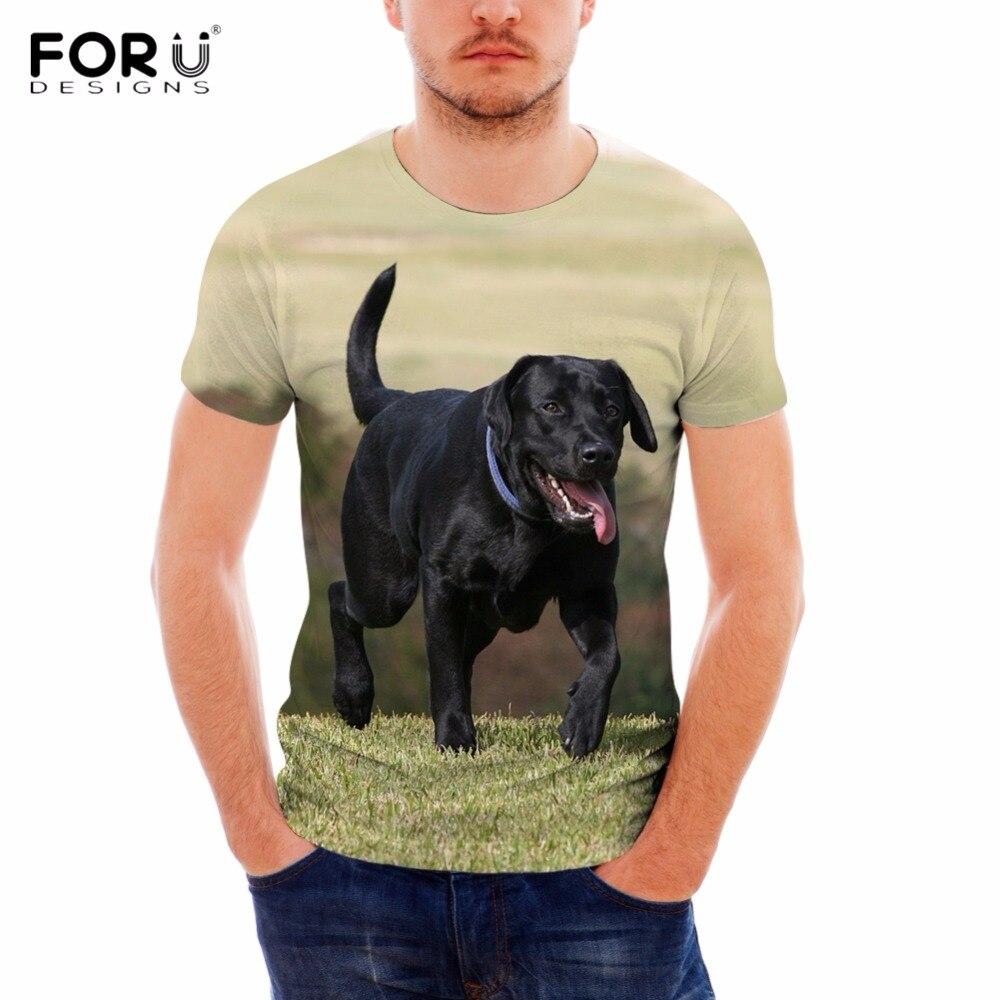 FORUDESIGNS Funny 3D Printing Black Labrador Retriever Dog Man's T Shirts Summer Short Boy Sleeve Tees Clothing Fashion T-shirts