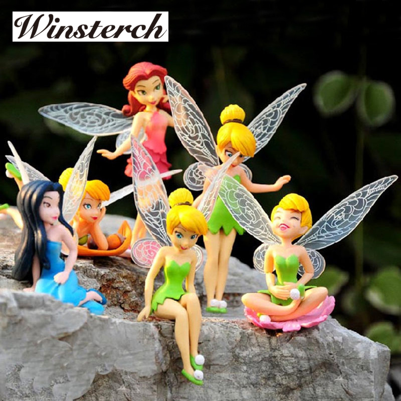 6pcs/Set Christmas Kids Gift Tinkerbell Dolls Flying Flower Fairy Children Animation Cartoon Toys Girls Dolls Baby Toy RT016