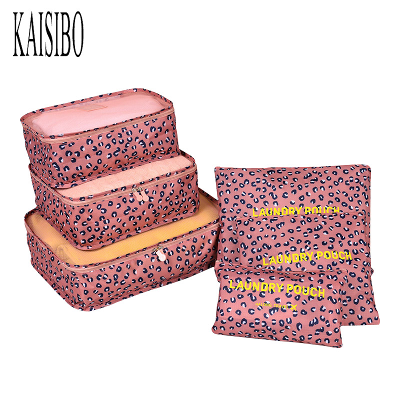 KAISIBO 6PCs/set Printing Women Makeup Necessaries Clothes Toiletry Organizer  Luggage Pouch Kits Travel Storage Bags
