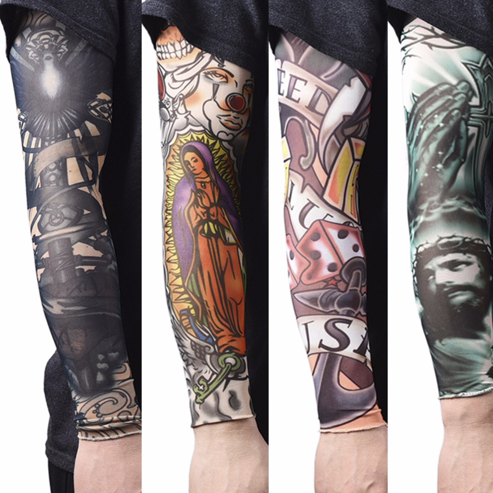 2pcs nylon elastic fake temporary tattoo sleeves tatoo arm for Tattoo cover sleeves
