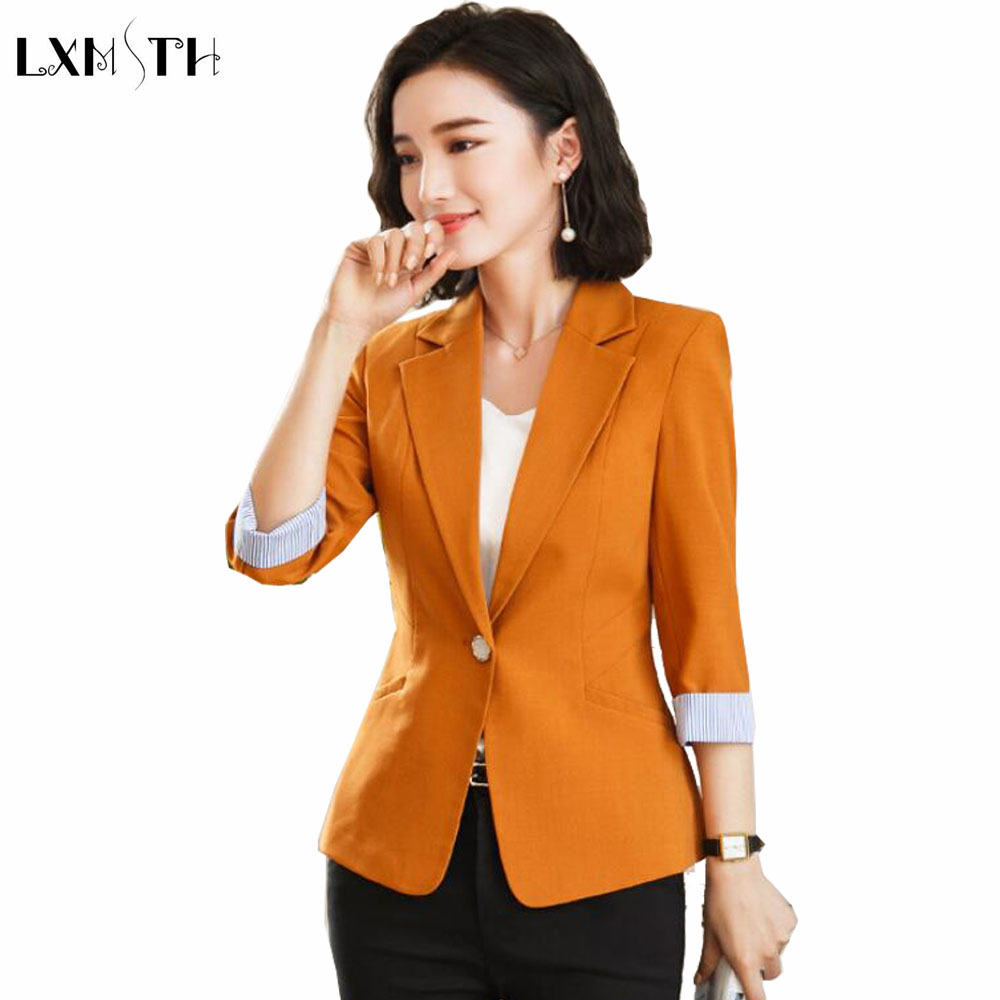 LXMSTH Spring Short Slim Blazer Female jackets Summer 2018 OL Formal Fashion Ladies Office coat Plus Size Casual Blazers Women