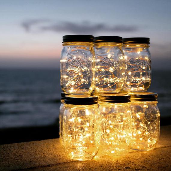 Solar-powered Mason Jar Lights (Mason Jar & Handle Included),10 Bulbs Warn White Jar Hanging Light,Garden Outdoor Solar Lanterns