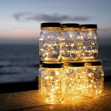 Solar powered Mason Jar Lights (Mason Jar & Handle Included),10 Bulbs Warn White Jar Hanging Light,Garden Outdoor Solar Lanterns